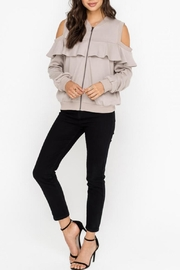 Lush Open-Shoulder Jacket, Taupe - Product Mini Image