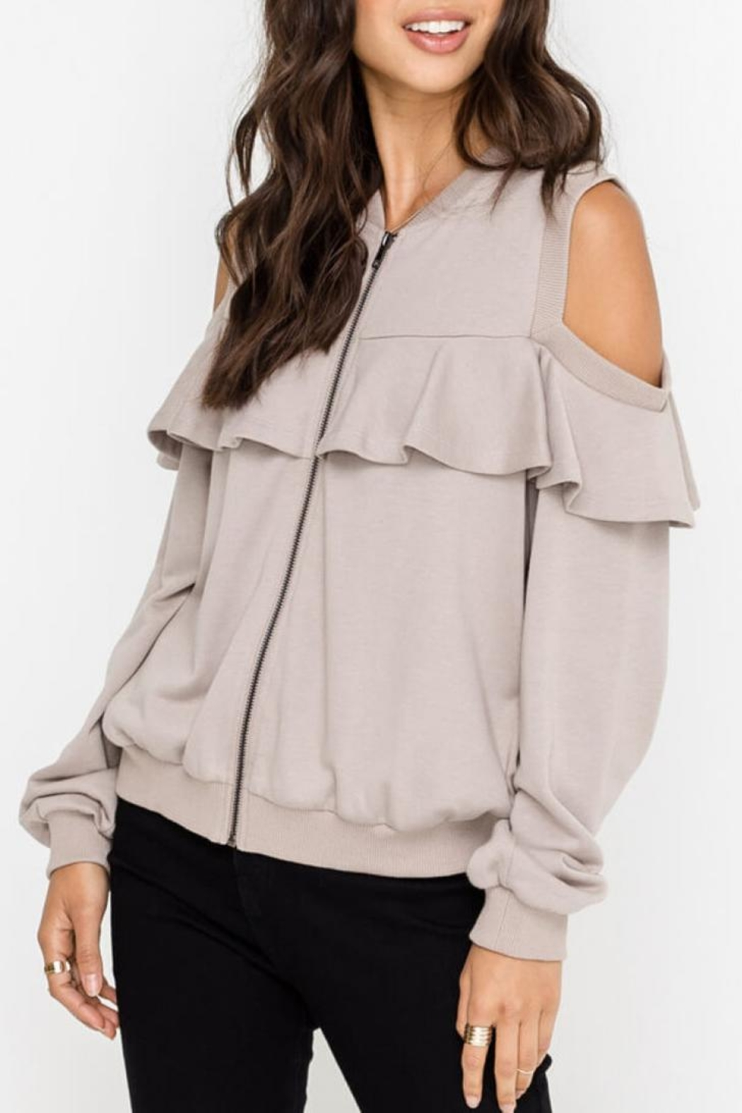 Lush Open-Shoulder Jacket, Taupe - Side Cropped Image