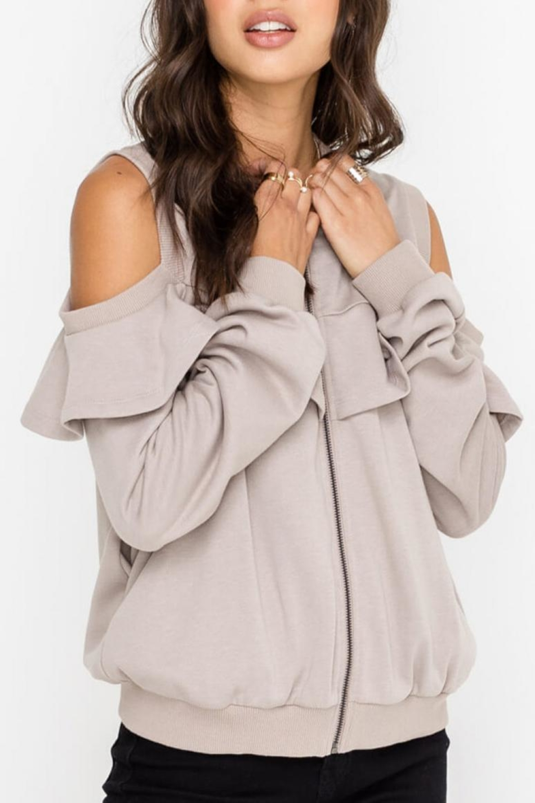 Lush Open-Shoulder Jacket, Taupe - Front Full Image