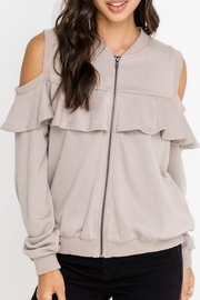 Lush Open-Shoulder Jacket, Taupe - Other