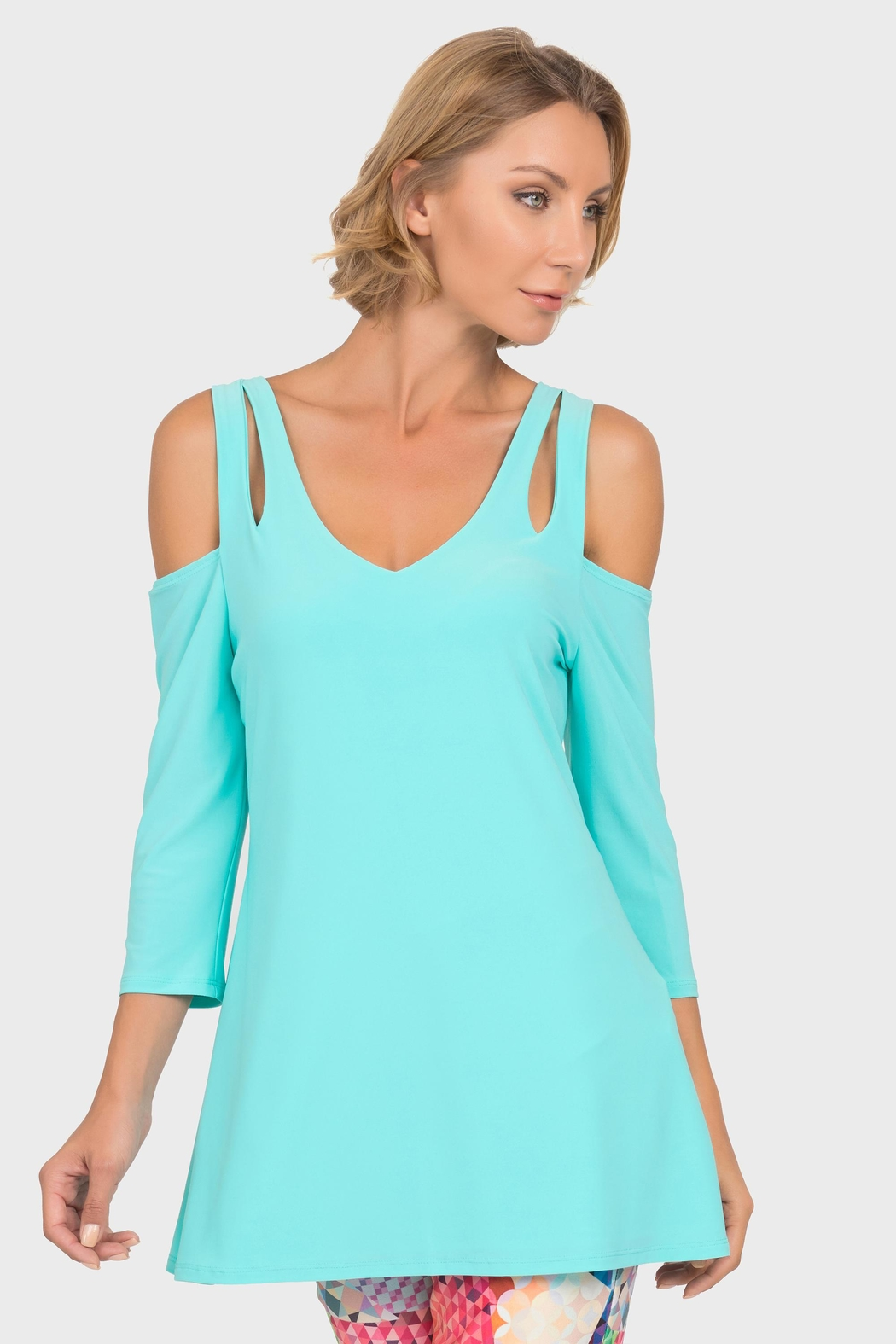Joseph Ribkoff Open Shoulder Tunic - Front Cropped Image