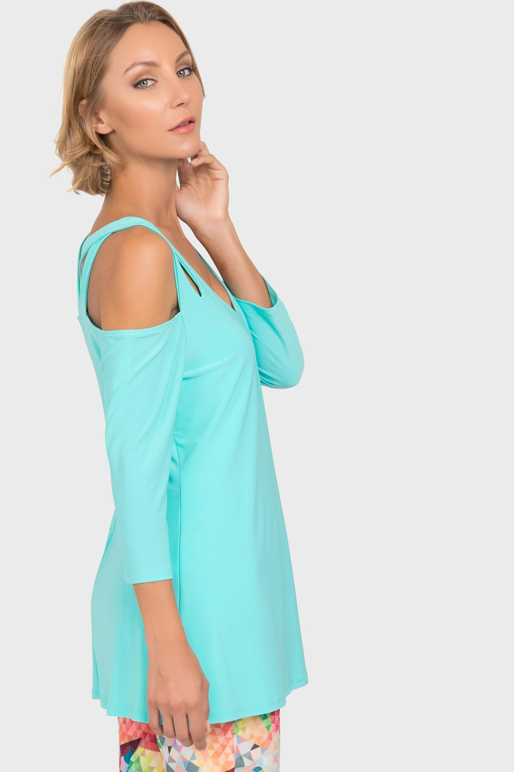 Joseph Ribkoff Open Shoulder Tunic - Front Full Image