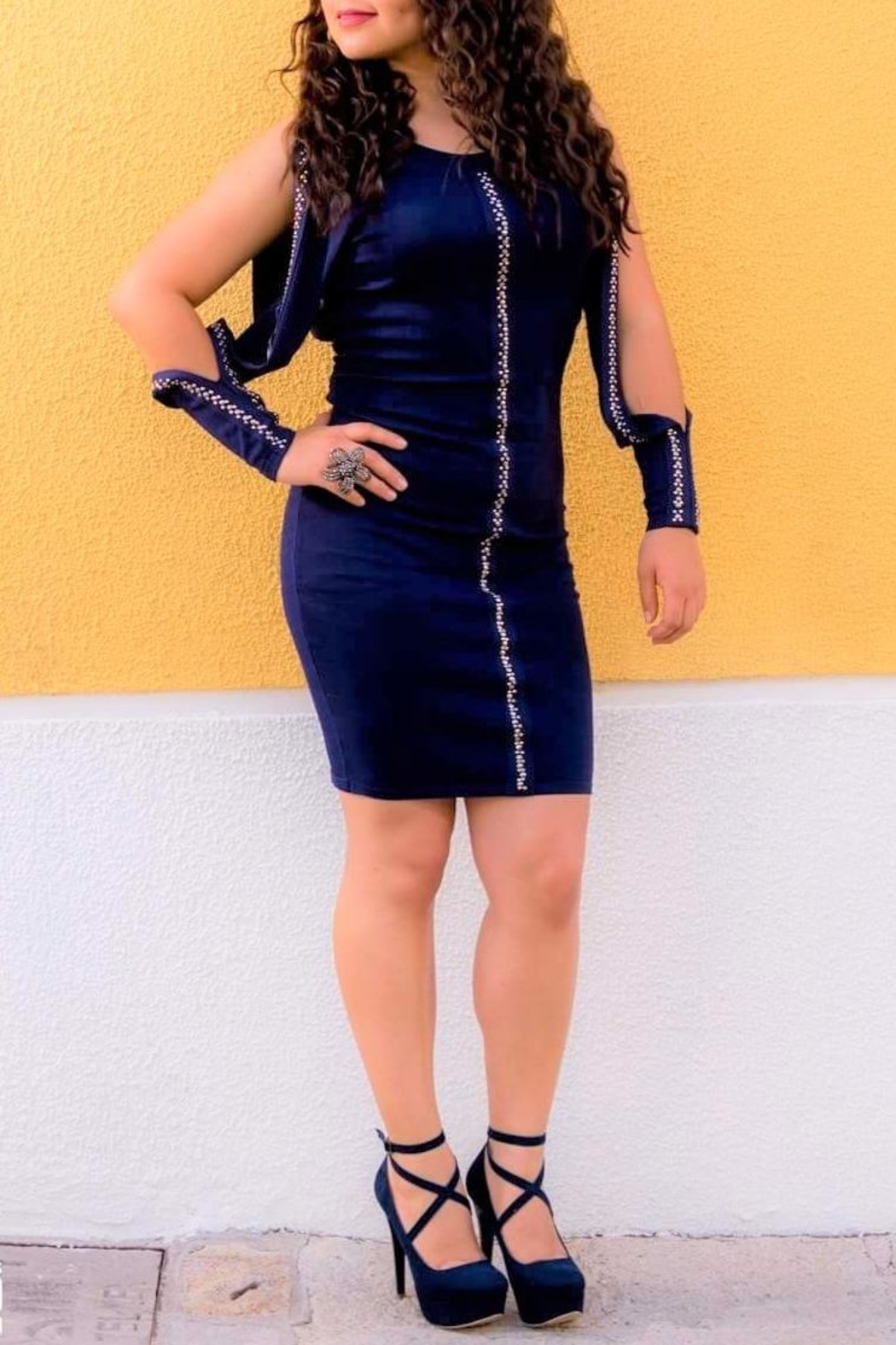 DOLCICIMO Open-Sleeve Navy Dress - Main Image