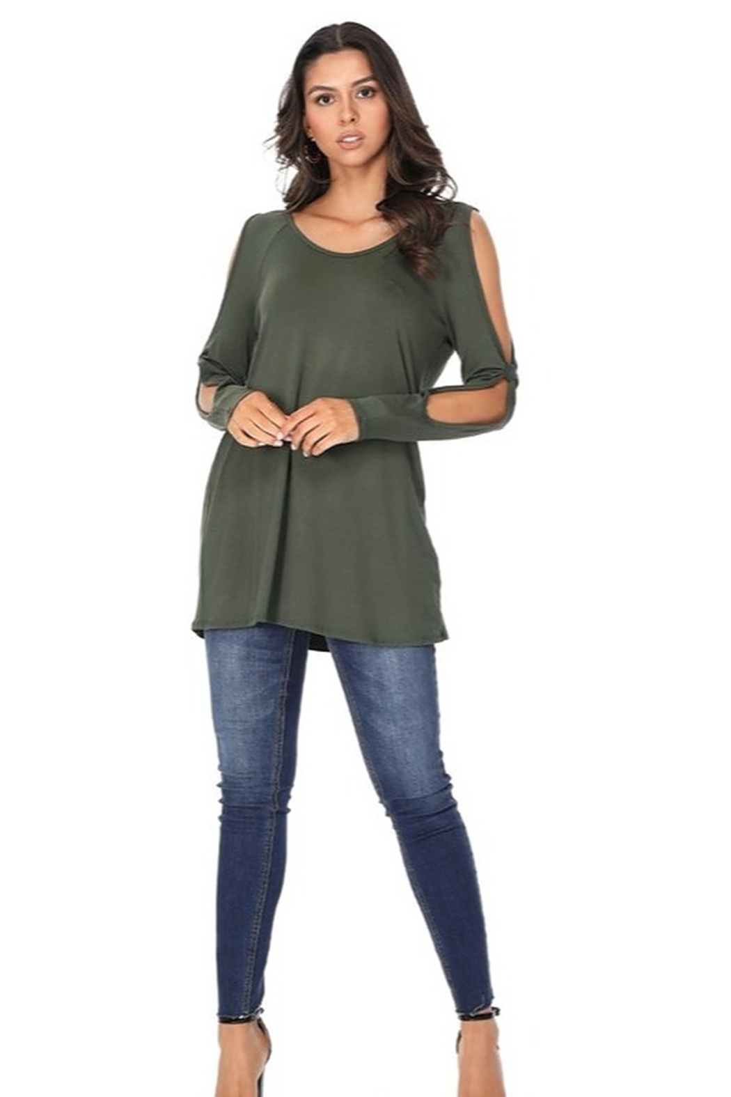 Paperdoll Open Sleeved Detailed Long Tunic Top - Front Cropped Image