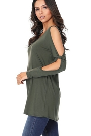 Paperdoll Open Sleeved Detailed Long Tunic Top - Side cropped