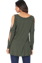 Paperdoll Open Sleeved Detailed Long Tunic Top - Front full body