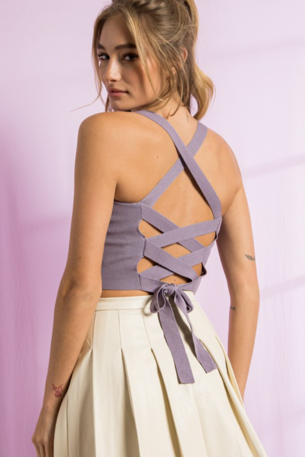 Paper Moon Open Strappy Back Tank - Side Cropped Image