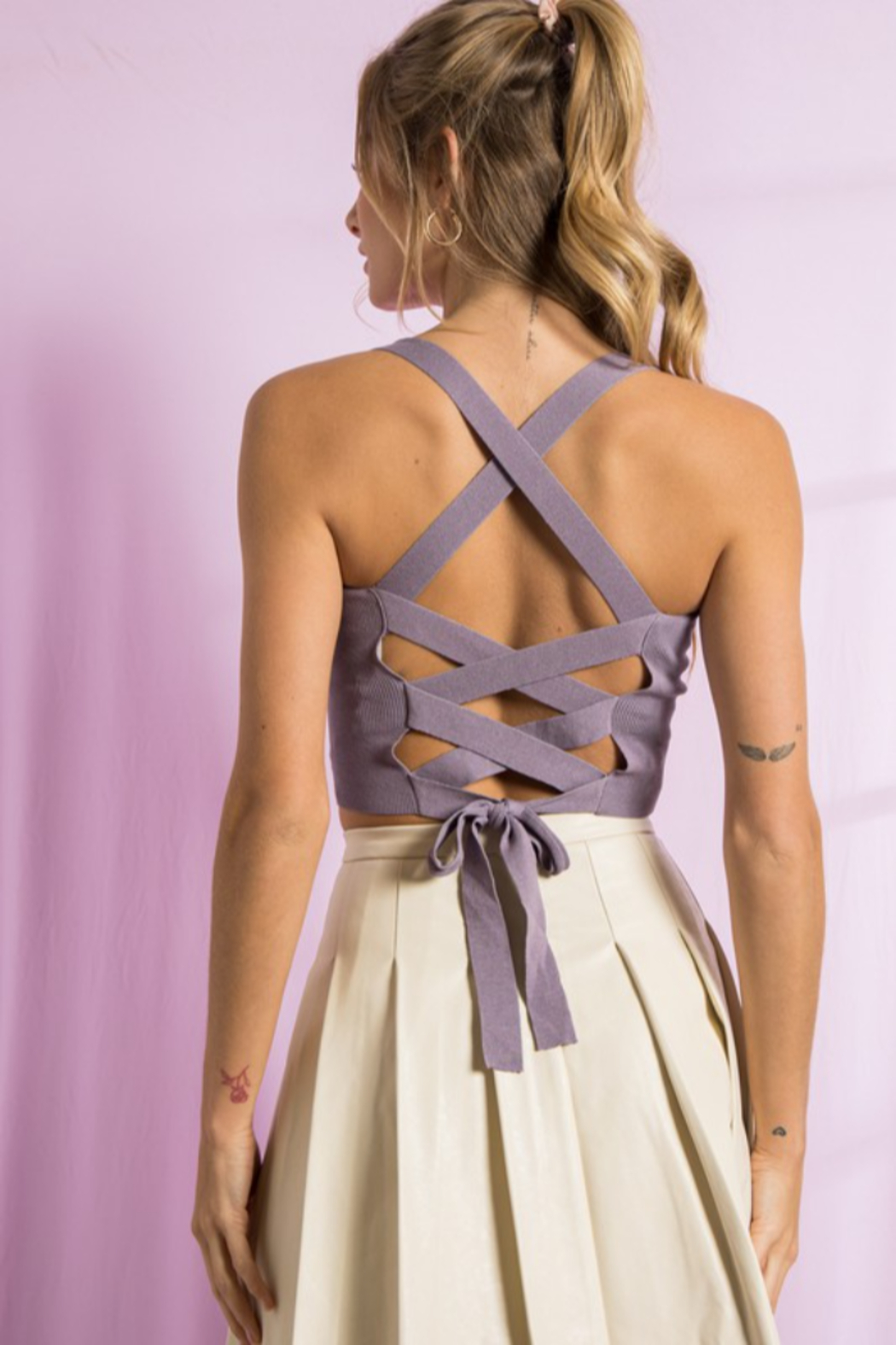 Paper Moon Open Strappy Back Tank - Back Cropped Image