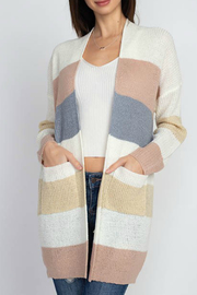 Dreamers Open striped cardigan with pockets - Product Mini Image
