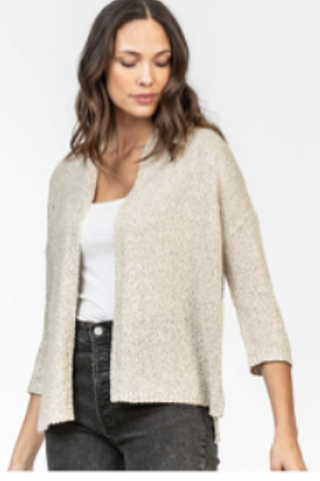 Lilla P Open Sweater Cardigan - Front Cropped Image