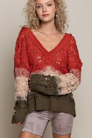 POL  Open Weave V Neck Sweater - Product Mini Image
