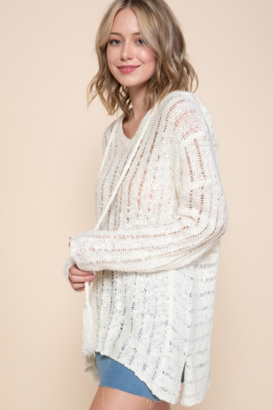 Mittoshop OPEN WORK V-NECK TASSELED HOODIE SWEATER - Front Full Image
