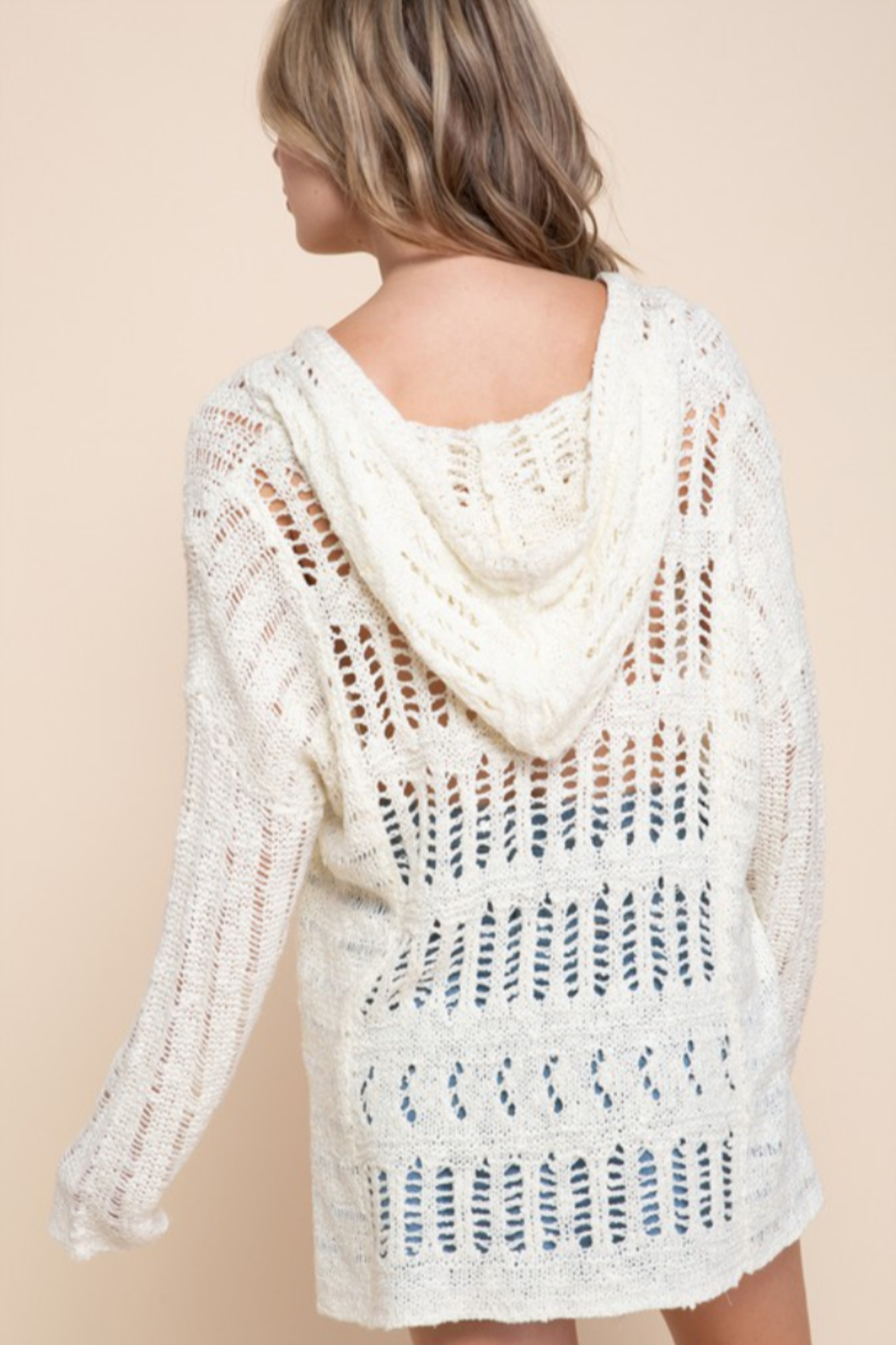 Mittoshop OPEN WORK V-NECK TASSELED HOODIE SWEATER - Side Cropped Image