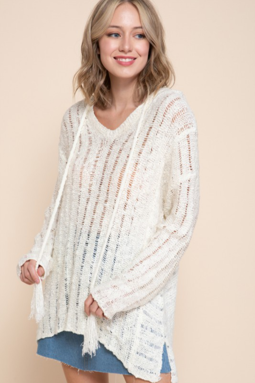 Mittoshop OPEN WORK V-NECK TASSELED HOODIE SWEATER - Front Cropped Image