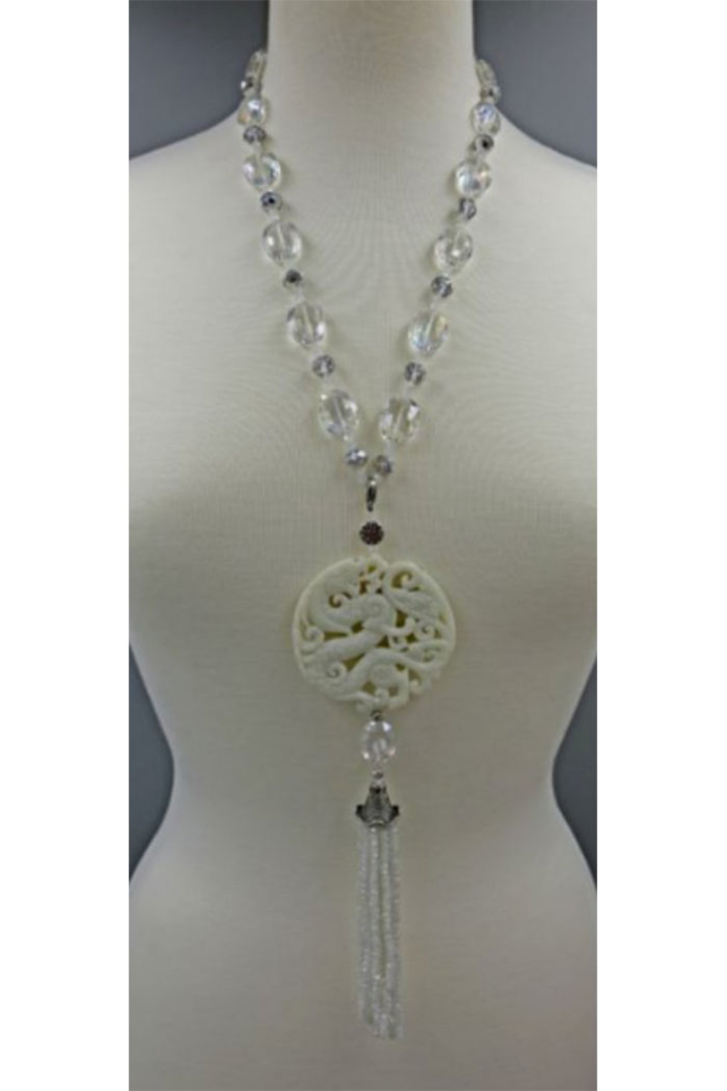 InStyle Trading Opulent Hand Carved White Jade And Crystal Pendant - Main Image