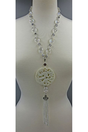 InStyle Trading Opulent Hand Carved White Jade And Crystal Pendant - Product Mini Image