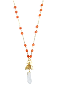 Shoptiques Product: Orange-Agate Bee Necklace