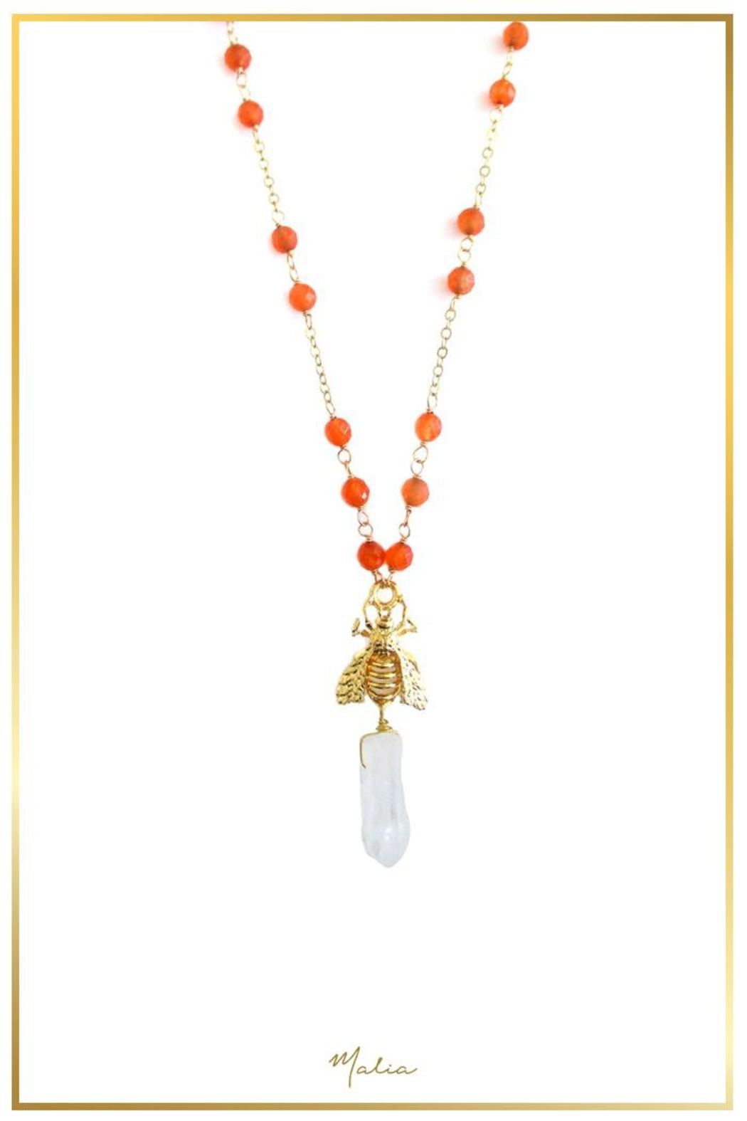 Malia Jewelry Orange-Agate Bee Necklace - Front Cropped Image