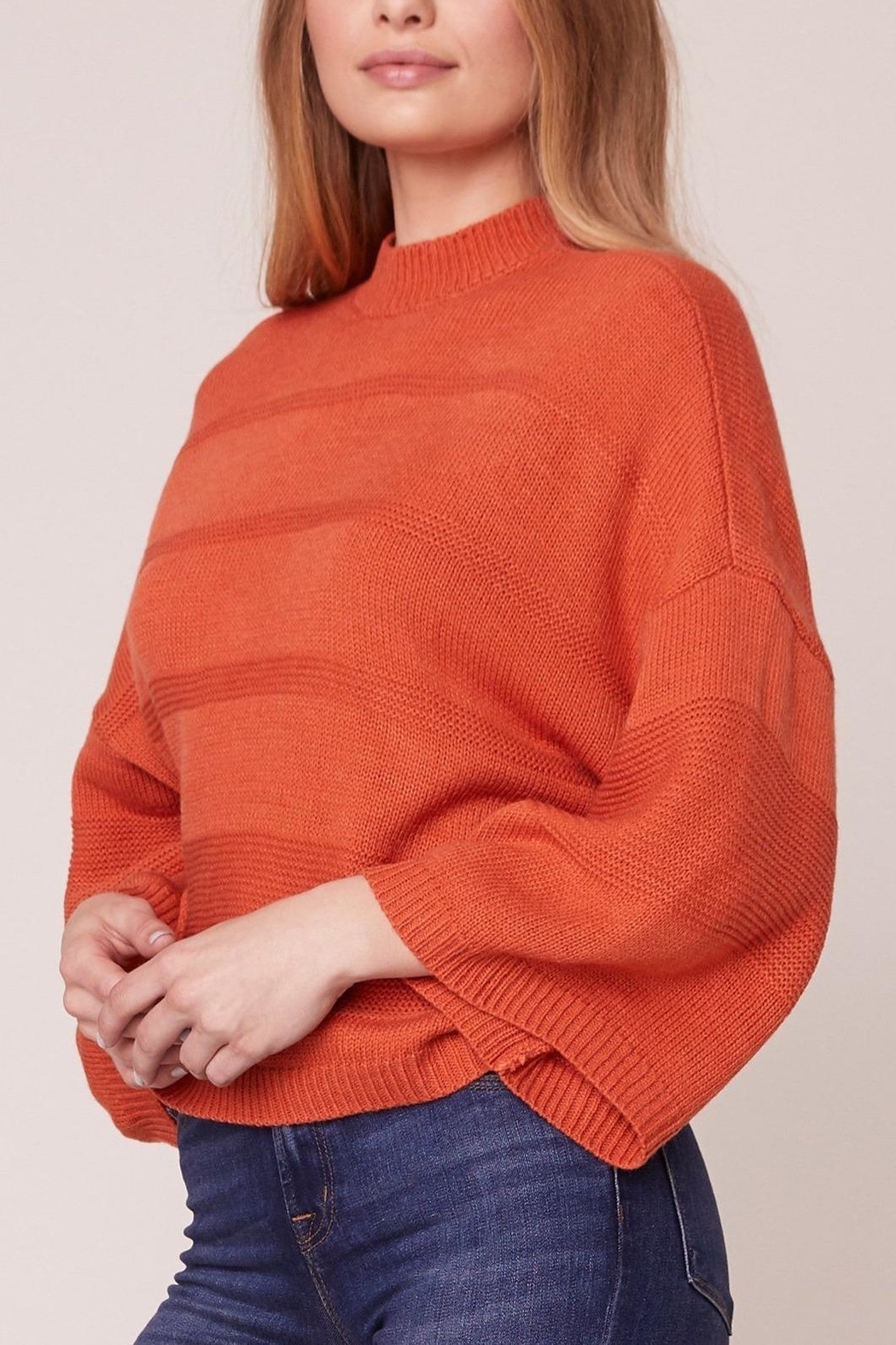 Jack by BB Dakota Orange Boxy 3/4 Sleeve Sweater - Side Cropped Image