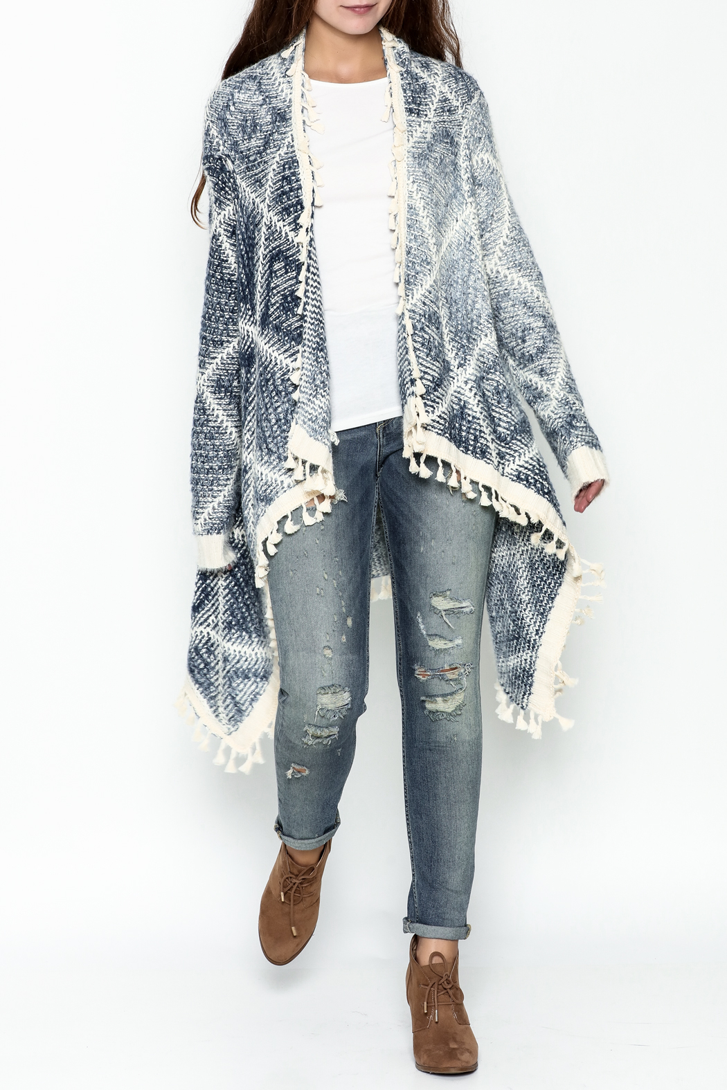 Orange Creek Fringe Sweater Cardigan - Side Cropped Image