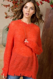 Main Strip Orange Distressed Sweater - Product Mini Image