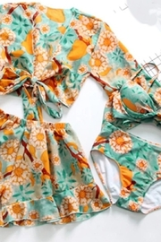 Tiny House of Fashion Orange Floral Swimsuit Set - Product Mini Image