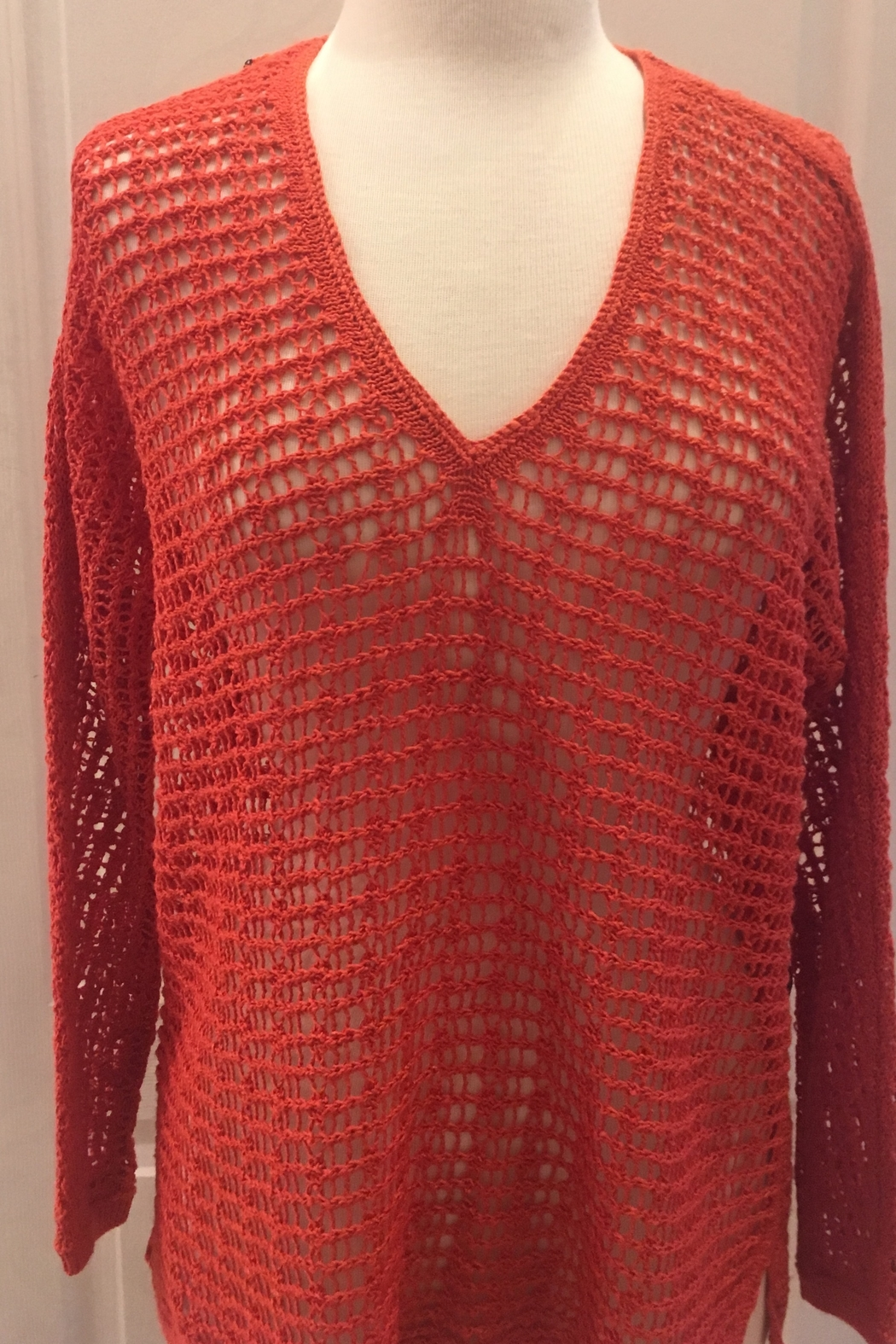 Nic+Zoe Orange netted tunic top - Main Image