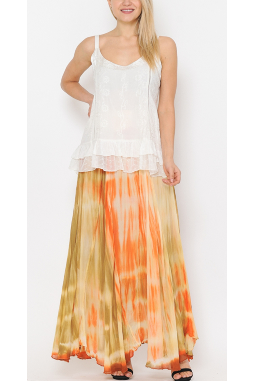 Apparel Love ORANGE OMBRE TIE DYE SKIRT - Front Cropped Image