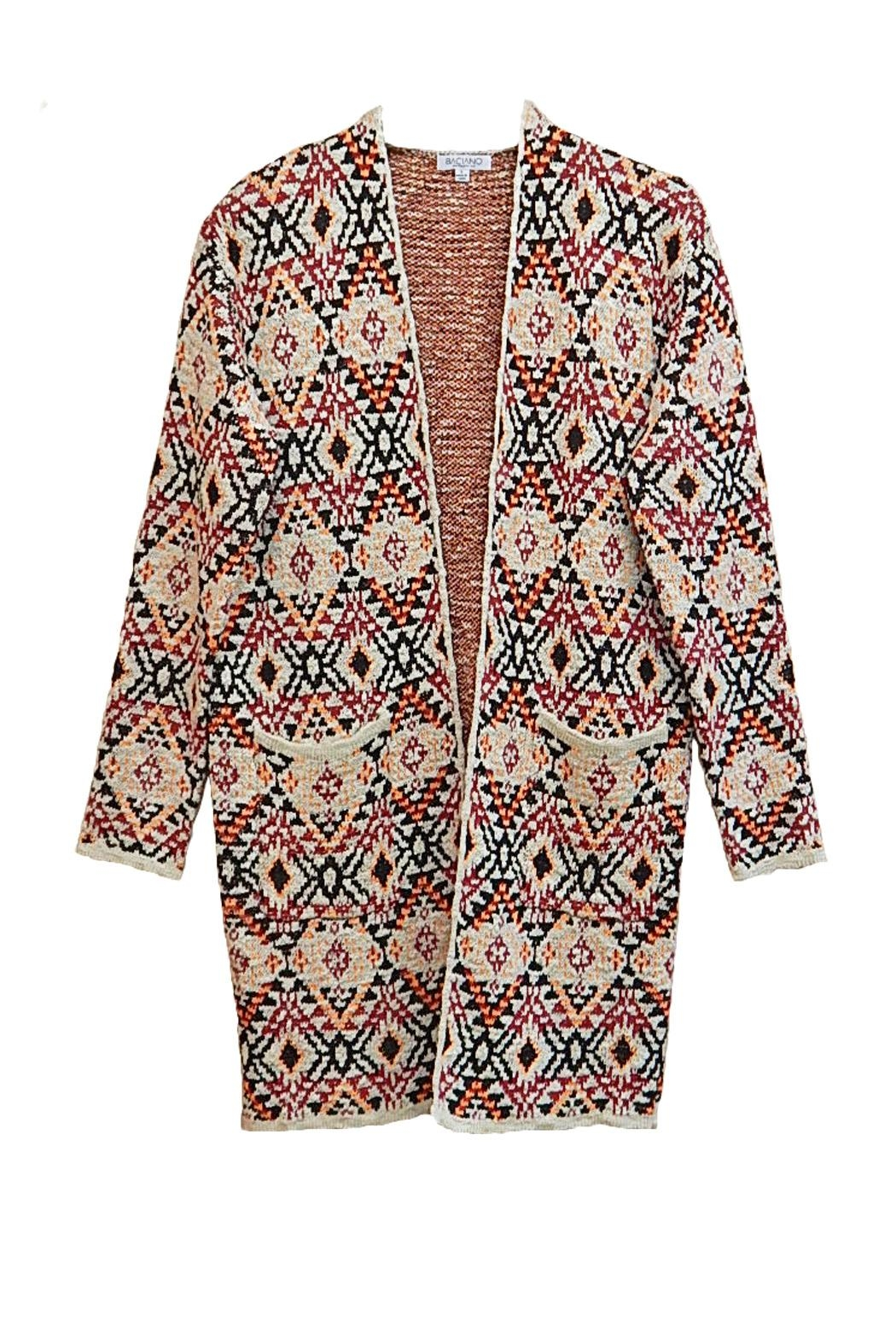 Baciano Orange Print Cardigan - Front Cropped Image