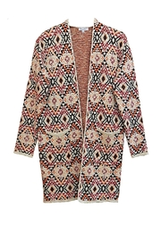 Baciano Orange Print Cardigan - Front cropped