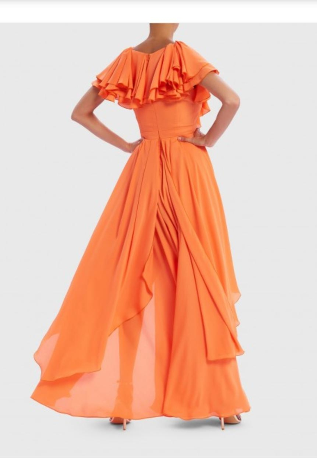Forever Unique Orange Ruffled Maxi - Front Full Image