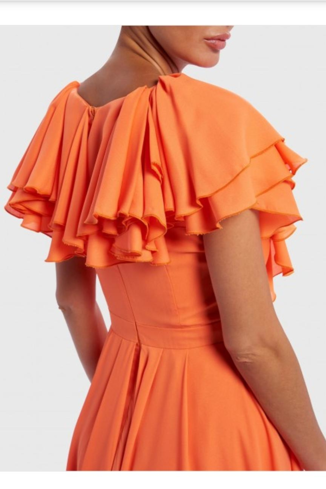 Forever Unique Orange Ruffled Maxi - Side Cropped Image
