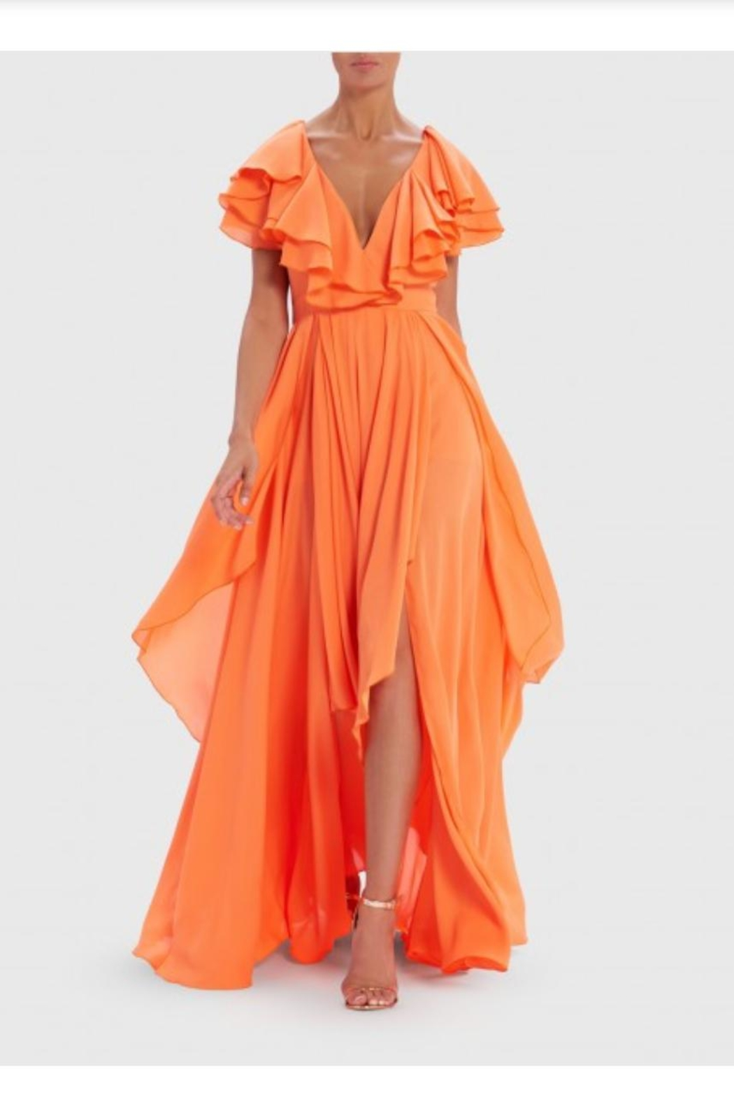 Forever Unique Orange Ruffled Maxi - Main Image
