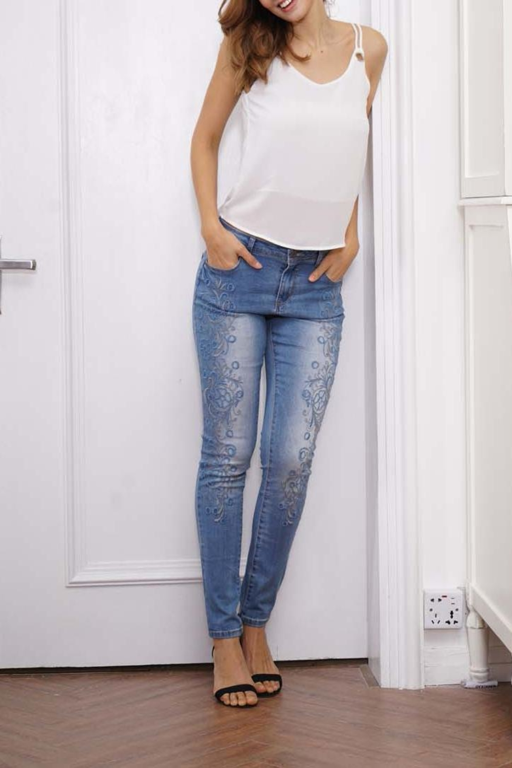 Orange Fashion Village Scroll Embroidered Jeans - Side Cropped Image