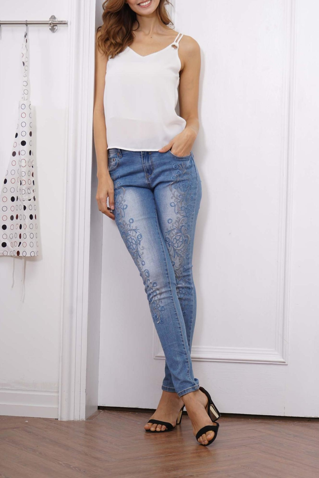 Orange Fashion Village Scroll Embroidered Jeans - Main Image