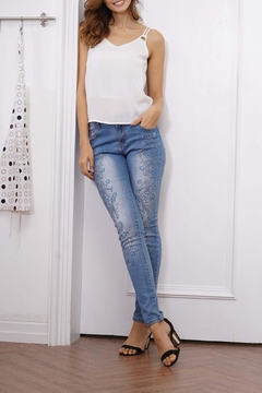 Orange Fashion Village Scroll Embroidered Jeans - Product List Image