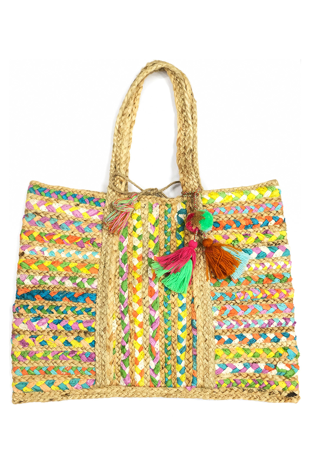 America and Beyond Orchid Braided Chindi Tote - Main Image
