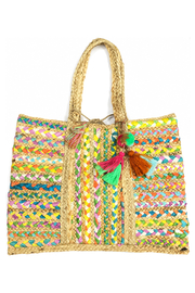 America and Beyond Orchid Braided Chindi Tote - Front cropped