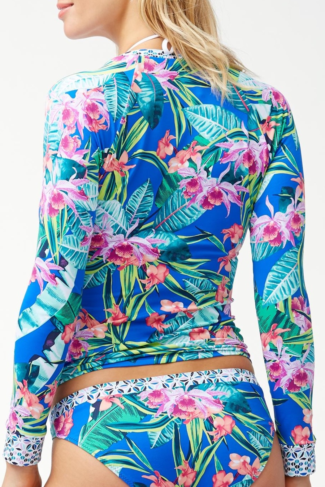 Tommy Bahama Orchid Grove Rash Guard Top - Front Full Image