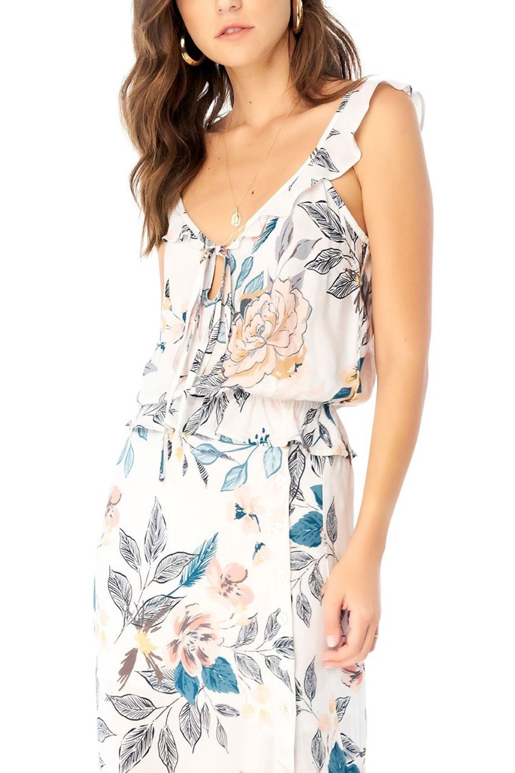 Saltwater Luxe Orchid Ruffle Tank - Main Image