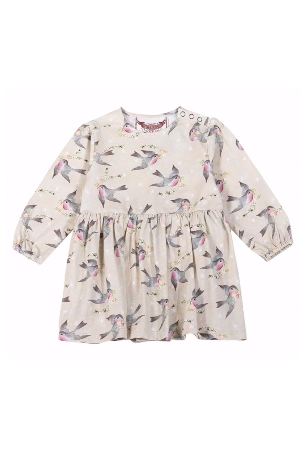 Paper Wings Organic Birds & Stars Skirted Romper - Front Cropped Image