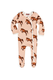 Milkbarn Organic Cotton Footed Romper - Front cropped
