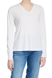 Eileen Fisher Organic Cotton V-neck Long-sleeve Jersey Tee In White - Product Mini Image