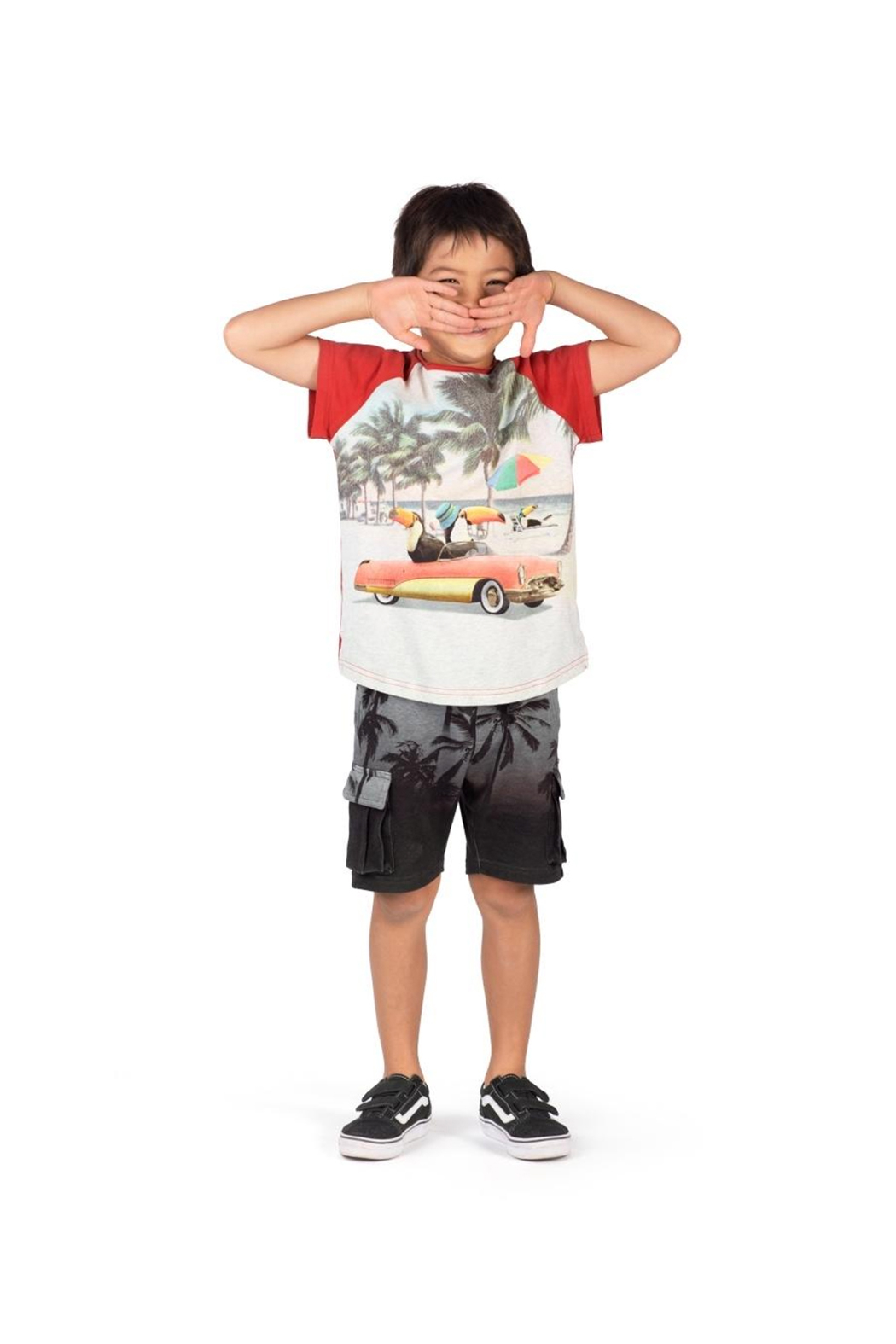 Paper Wings Organic French Terry Cargo Shorts - Side Cropped Image