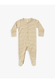 Quincy Mae Organic Full Snap Footie - Gold Stripe - Product Mini Image