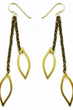 Daphne Olive Organic Line 2x Chain and Leaf Earrings - Product List Image