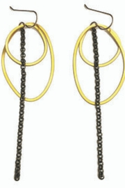 Daphne Olive Organic Line Oval and Circle Earrings - Product Mini Image