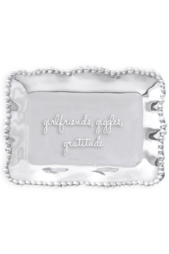 Beatriz Ball Organic Pearl Engraved Tray - girlfriends, giggles and gratitude - Product List Image