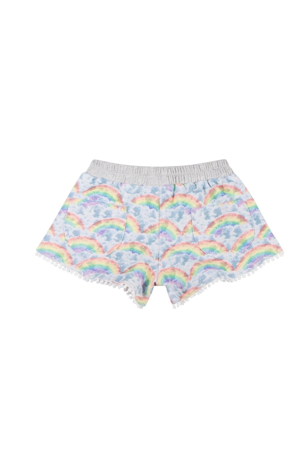 Paper Wings Organic Rainbow Clouds French Terry Shorts - Front Full Image