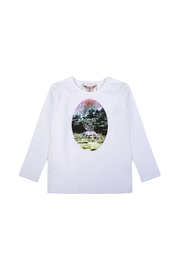 Paper Wings Organic Unicorn Dusk Cameo Tee - Front cropped